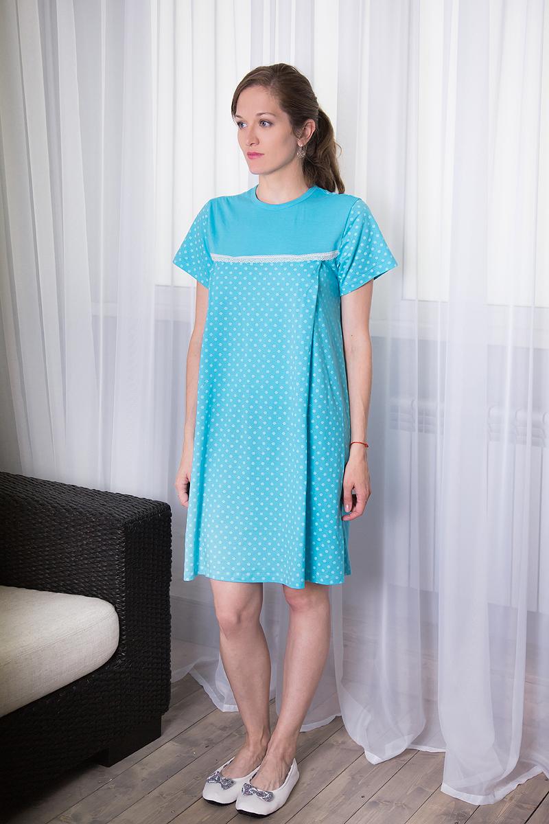 Платье домашнее7117111309Комфортное домашнее платье для кормящих мам Violett с короткими рукавами изготовлено из натурального хлопка. Платье с специальными отверстиями для кормления. Оформлено изделие цветочным принтом.