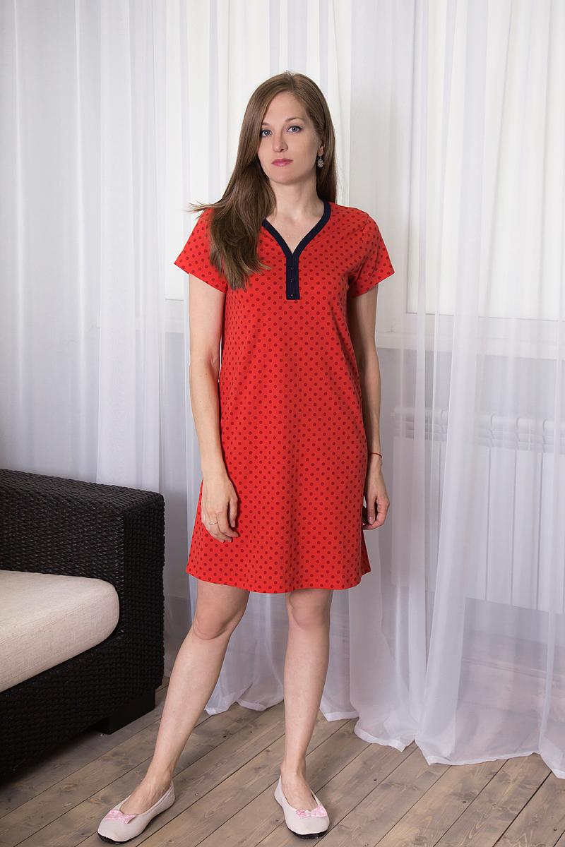 Платье домашнее7117110721Домашнее платье Violett выполнено из натурального хлопка. Платье-миди свободного кроя с V-образным вырезом горловины и короткими рукавами оформлено принтом в горох, спереди - декоративными пуговицами.