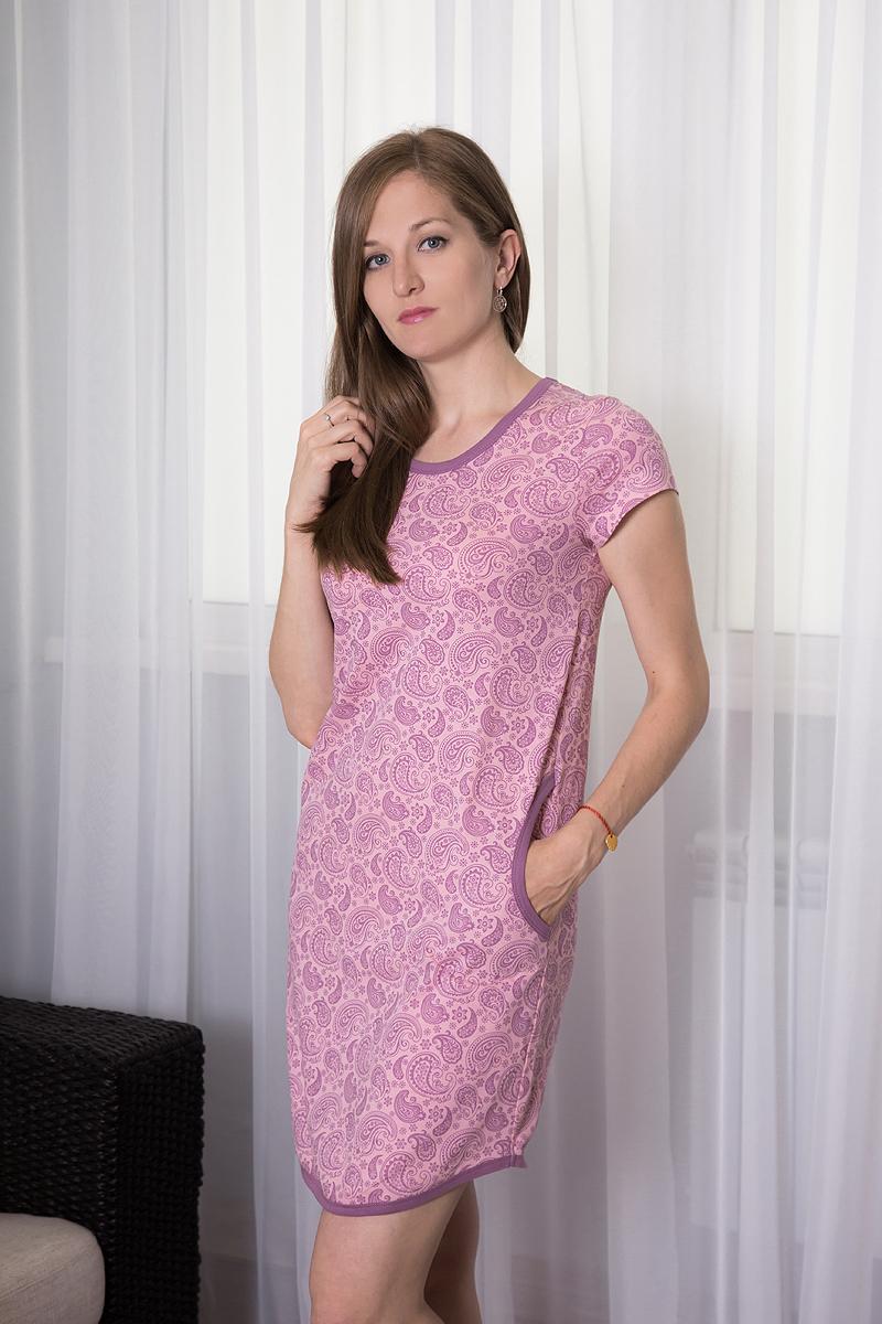 Платье домашнее7117110711Домашнее платье Violett выполнено из натурального хлопка. Платье-миди с круглым вырезом горловины и короткими рукавами оформлено оригинальным цветочным принтом. Спереди расположены два втачных кармана.
