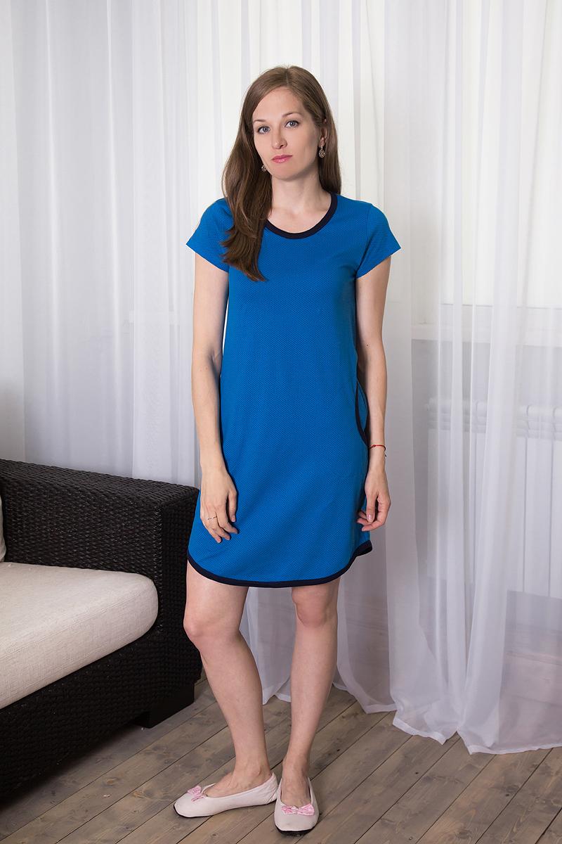 7117110709Домашнее платье Violett выполнено из натурального хлопка. Платье-миди с круглым вырезом горловины и короткими рукавами оформлено принтом в мелкий горох. Спереди расположены два втачных кармана.