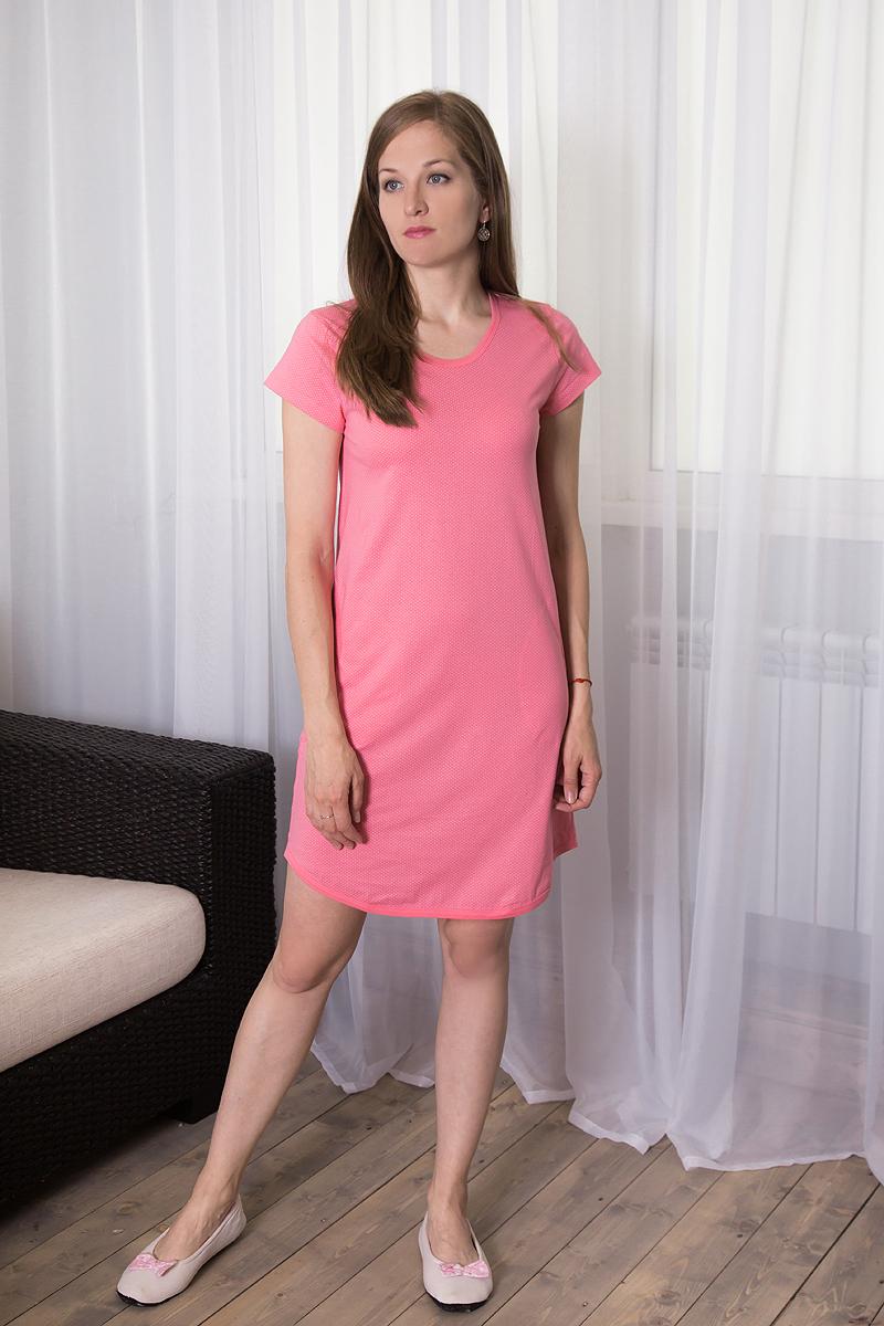 Платье домашнее7117110709Домашнее платье Violett выполнено из натурального хлопка. Платье-миди с круглым вырезом горловины и короткими рукавами оформлено принтом в мелкий горох. Спереди расположены два втачных кармана.