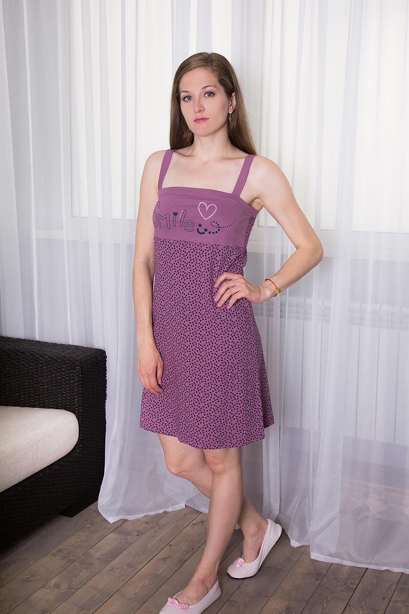 Платье домашнее7117110328Платье домашнее Violett изготовлено из натурального хлопка. Модель на бретельках оформлена интересным принтом в виде сердечек и надписями.