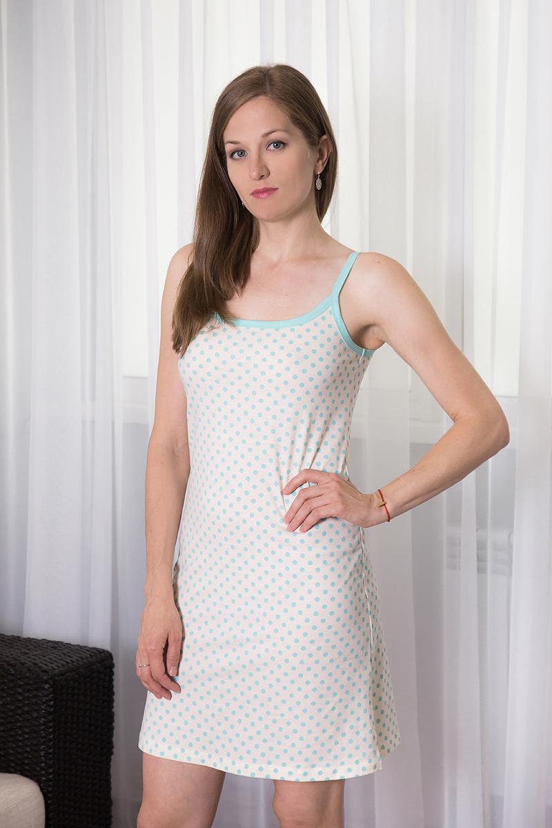 7117110317Платье домашнее Violett изготовлено из натурального хлопка. Модель на бретельках оформлена принтом в горох.