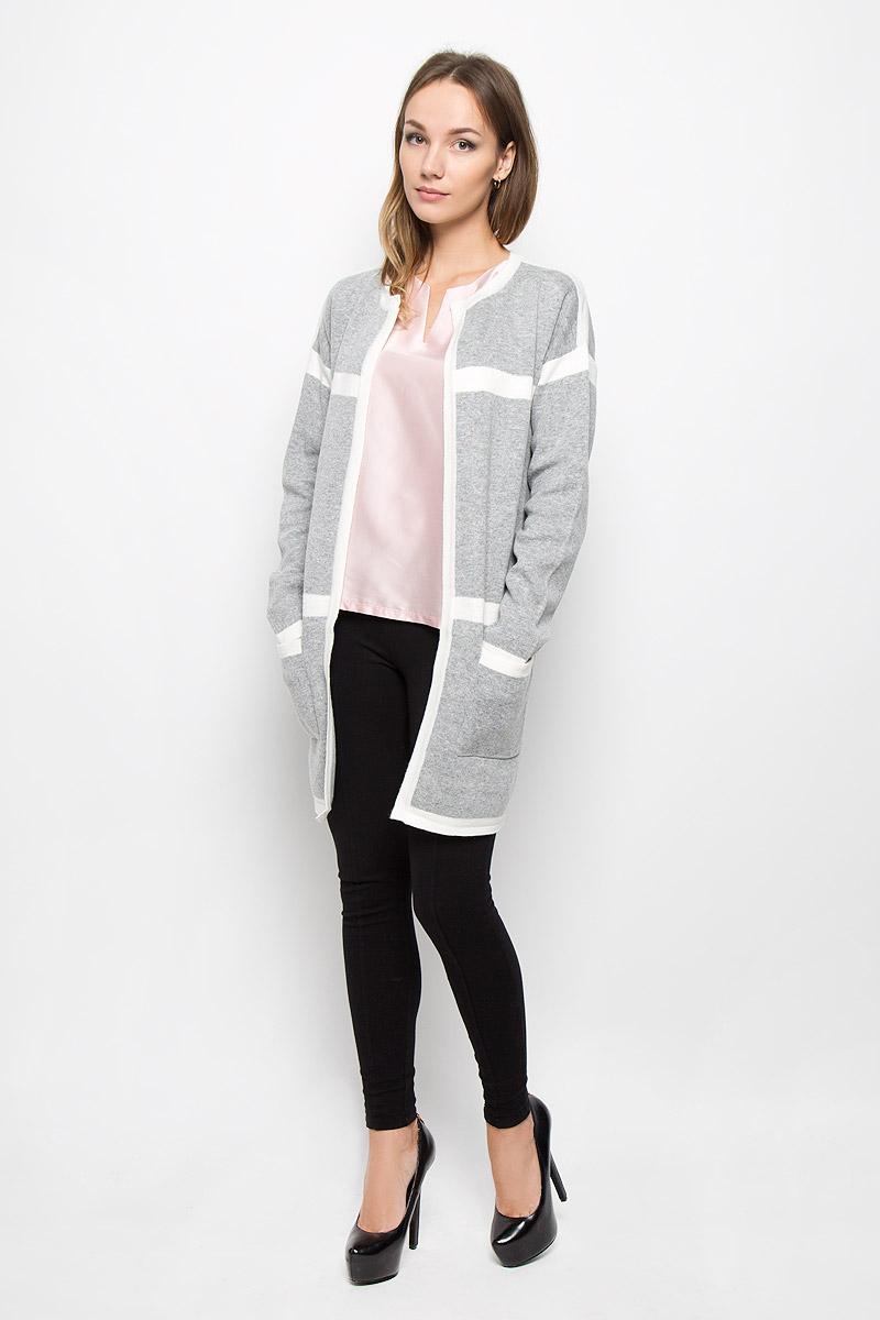 Кардиган10156685_807Стильный женский кардиган Broadway Neko - отличный вариант для прохладной погоды. Модель универсальна, прекрасно подходит для повседневной носки и хорошо смотрится как с брюками, так и с юбками. Благодаря составу, в который входит акрил, нейлон и шерсть, изделие теплое, мягкое и приятное на ощупь, не сковывает движения, обеспечивая комфорт. Кардиган с круглым вырезом горловины и длинными рукавами оформлен контрастными полосками. Модель спереди дополнена накладными карманами. Этот эффектный кардиган подарит вам комфорт и послужит замечательным дополнением к вашему гардеробу.