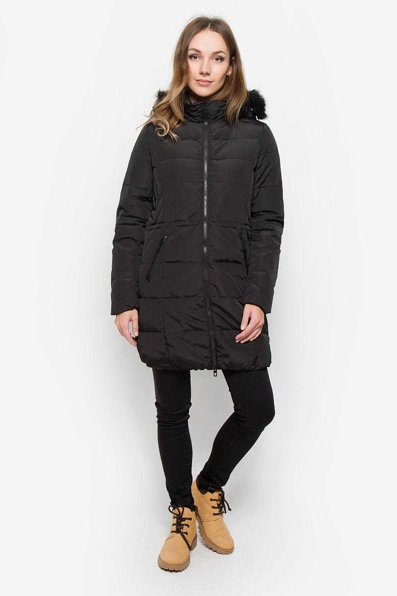 10122_999Удобное женское пальто Broadway Nadja согреет вас в прохладную погоду и позволит выделиться из толпы. Модель с длинными рукавами, воротником-стойкой и съемным капюшоном на кнопках выполнена из полиэстера. Наполнитель из натурального пуха и пера надежно сохранит тепло и не позволит вам замерзнуть. Пальто застегивается на застежку-молнию спереди. Капюшон украшен искусственным мехом и дополнен шнурком-кулиской, позволяющим отрегулировать его объем. Изделие дополнено двумя втачными карманами на застежках-молниях спереди и внутренним втачным карманом. Объем талии регулируется при помощи шнурка-кулиски. Низ изделия дополнен широкой эластичной резинкой. Это модное и уютное пальто - отличный вариант для прогулок, оно подчеркнет ваш изысканный вкус и поможет создать неповторимый образ.