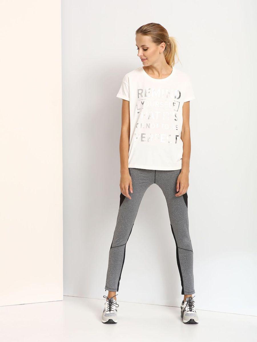 DPO0288BIСтильная женская футболка, выполненная из хлопка и полиэстера. Модель с круглым вырезом горловины и короткими рукавами оформлена надписью.