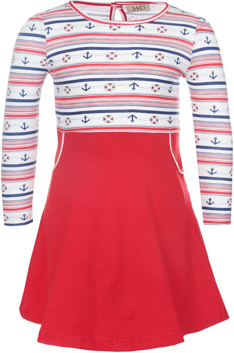 ПлатьеSSD261047-7Яркое платье для девочки M&D отлично подойдет маленькой моднице. Выполненное из высококачественного материала, оно легкое и воздушное, приятное на ощупь, не сковывает движения и хорошо вентилируется. Платье с круглым вырезом горловины и длинными рукавами застегивается сзади на пуговицу, что помогает при переодевании ребенка. Модель оформлена оригинальным морским принтом. От линии талии модель дополнена двумя боковыми кармашками. Современный дизайн и яркая расцветка делают это платье стильным предметом детской одежды. В нем маленькая принцесса всегда будет в центре внимания.
