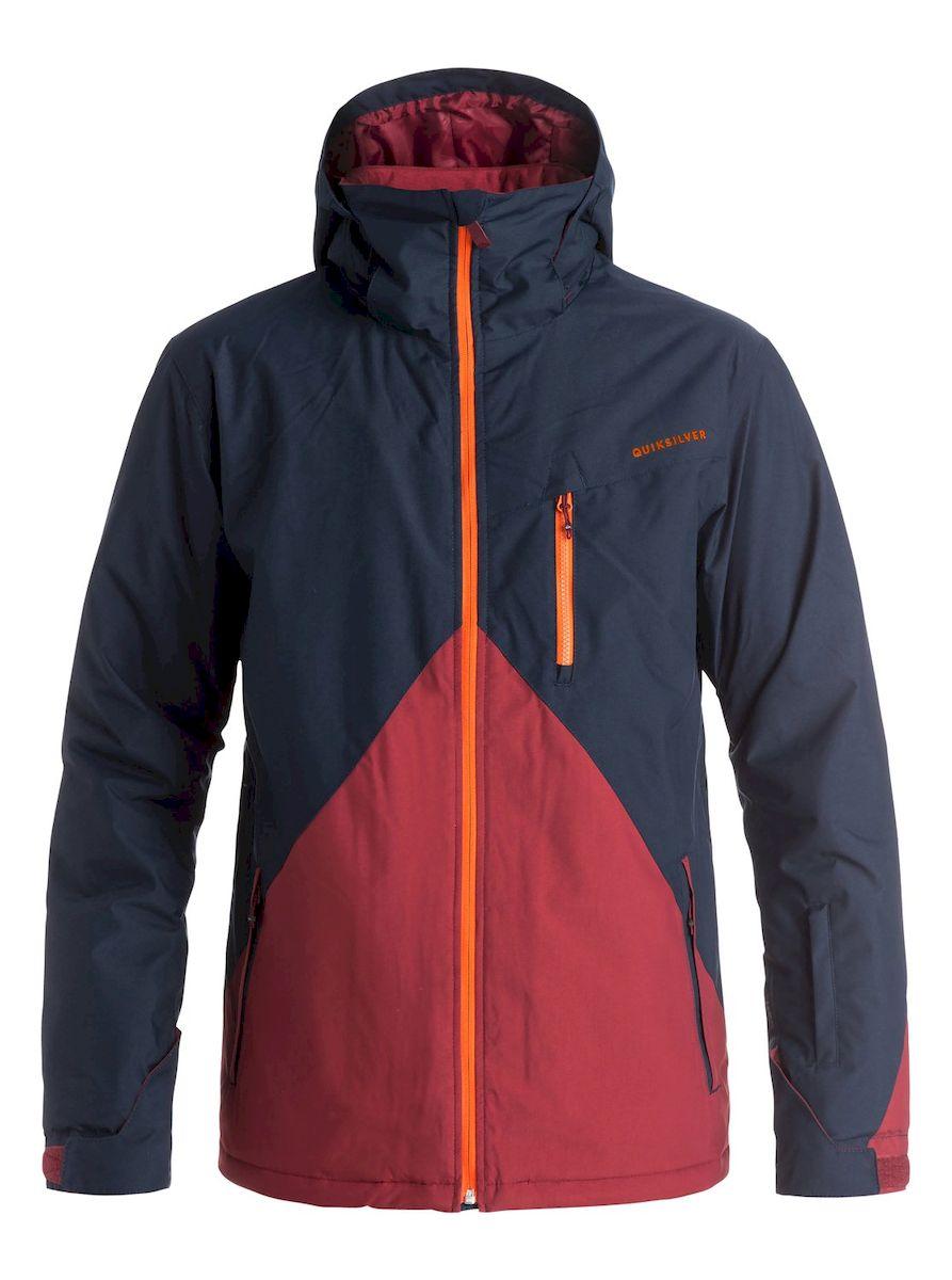 КурткаEQYTJ03067-BYJ0Мужская куртка для сноуборда Quiksilver выполнена из нейлона с подкладкой из синтепона. Модель с длинными рукавами, воротником-стойкой и съемным капюшоном на кнопках застегивается на застежку-молнию спереди. Изделие дополнено тремя втачными карманами на застежках-молниях, внутренним втачным карманом на липучке и накладным карманом-сеткой, а также небольшим втачным кармашком на рукаве. Рукава дополнены внутренними трикотажными манжетами, а также хлястиками с липучками, которые позволяют регулировать обхват манжет. По бокам куртки, от линии талии до середины рукавов, расположены вентиляционные отверстия с сетчатыми вставками, закрывающиеся на застежки-молнии. Куртка оснащена внутренней противоснежной вставкой на кнопках. Низ куртки дополнен шнурком-кулиской.