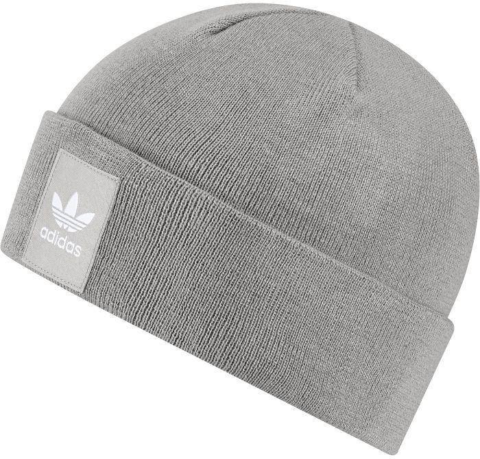 AY9071Шапка Adidas Rib Logo Beanie - классическая шапка-бини, связанная из мягкой меланжевой пряжи. Три полоски украшают внутреннюю сторону подвернутого манжета. Атласная нашивка с Трилистником на отвороте.