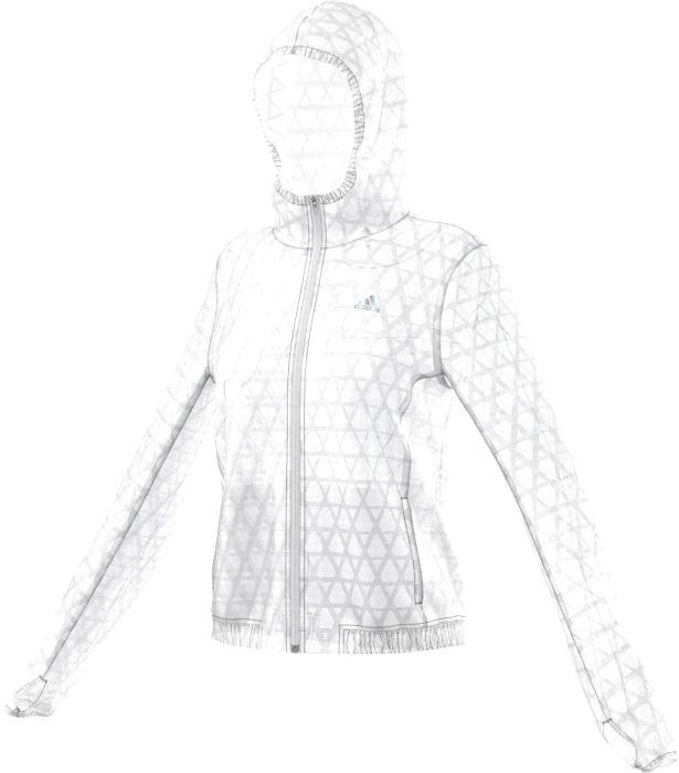 AP8439Легкая женская куртка для ежедневных пробежек. Дышащая ткань climalite эффективно отводит влагу, а застежка на молнию, капюшон и манжеты с отверстиями для больших пальцев защищают от холода и ветра. Боковые карманы. Графический принт по всей поверхности, светоотражающие детали.