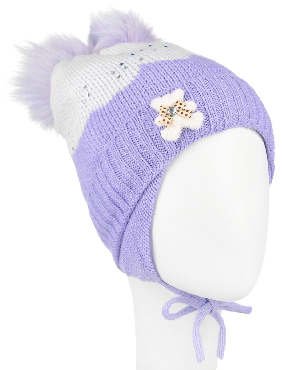 AW1500353-53Вязанная детская шапочка Nota Bene станет отличным дополнением к детскому гардеробу. Верх изделия изготовлен из высококачественного акрила с добавлением шерсти, это обеспечивает тепло и комфорт. Благодаря эластичной вязке, шапка идеально прилегает к голове ребенка. Шапка оформлена выкладкой из блестящих страз и небольшой аппликацией в виде мишки, макушка модели дополнена двумя пушистыми помпонами из искусственного меха. Изделие завязывается на шнурочки, пришитые сбоку к удлиненным ушкам, тем самым обеспечивает тепло в холодную погоду и защищает детские ушки от холода. Дополнена шапочка нашивкой с названием бренда. Оригинальный дизайн и расцветка делают эту шапку стильным предметом детского гардероба. В ней ребенку будет тепло, уютно и комфортно. Уважаемые клиенты! Размер, доступный для заказа, является обхватом головы.