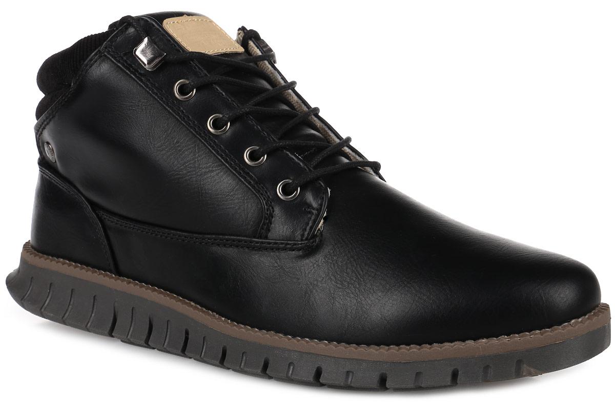 ES827001-2Стильные мужские ботинки от Escan заинтересуют вас своим дизайном с первого взгляда! Модель выполнена из искусственной кожи и текстиля. Подкладка из текстиля и стелька из материала ЭВА с текстильной поверхностью обеспечат комфорт. Классическая шнуровка надежно зафиксирует модель на ноге. Подошва с рифлением обеспечивает отличное сцепление с любой поверхностью.