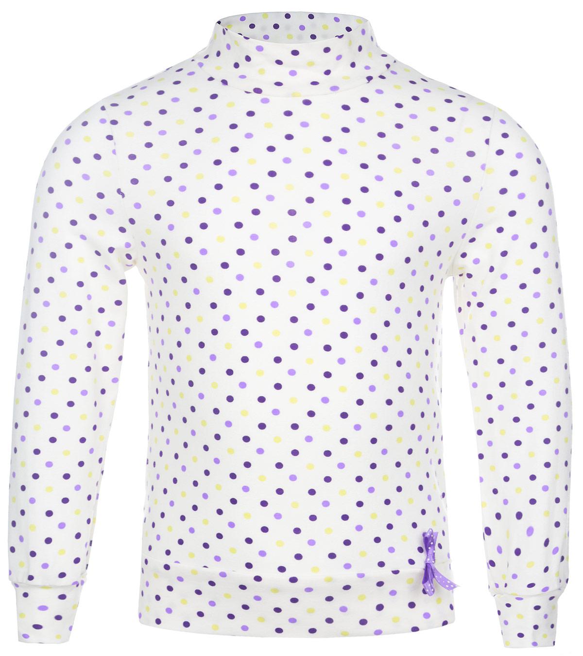 ВодолазкаWJO26016M-1Яркая водолазка для девочки M&D идеально подойдет вашей маленькой моднице. Модель изготовлена из натурального хлопка, не сковывает движения ребенка и позволяет коже дышать, обеспечивая комфорт. Водолазка с воротником-стойкой и длинными рукавами. Воротник, низ изделия и рукава выполнены из мягкой эластичной ткани, которая не сдавливает кожу ребенка. Модель оформлена стильным принтом в горошек. Современный дизайн и расцветка делают эту водолазку модным и стильным предметом детского гардероба. В ней ваш ребенок будет чувствовать себя уютно, комфортно и всегда будет в центре внимания!