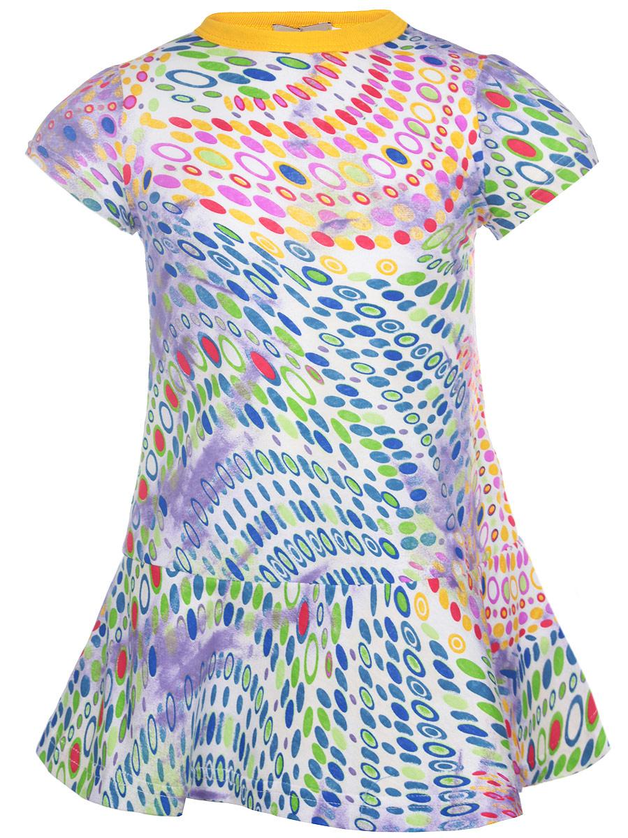 ПлатьеSSD260111-77Очаровательное платье для девочки M&D идеально подойдет вашей малышке. Платье выполнено из эластичного хлопка, оно необычайно мягкое и приятное на ощупь, не сковывает движения и позволяет коже дышать, не раздражает даже самую нежную и чувствительную кожу ребенка, обеспечивая наибольший комфорт. Платье с круглым вырезом горловины и короткими рукавами-фонариками не имеет застежек. Горловина оформлена эластичной трикотажной резинкой, что позволяет свободно надевать и снимать изделие. Модель выполнена ярким контрастным принтом. Современный дизайн и яркая расцветка делают это платье стильным предметом детской одежды. В нем маленькая принцесса всегда будет в центре внимания.