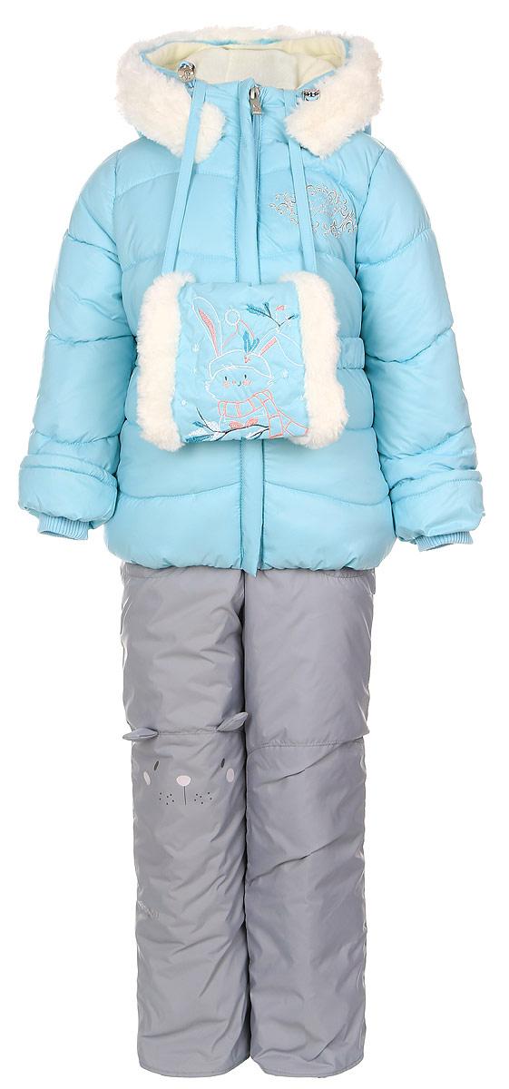 Комплект верхней одежды64343_BOG_вар.1Теплый комплект для девочки Boom! идеально подойдет вашей дочурке в холодное время года. Комплект состоит из куртки, полукомбинезона и муфты, изготовленных из водоотталкивающей ткани с утеплителем из синтепона. Куртка на мягкой флисовой подкладке застегивается на пластиковую застежку-молнию и дополнительно имеет внутренний ветрозащитный клапан, и защиту подбородка. Курточка дополнена несъемным капюшоном с ушками, декорированным меховой опушкой на молнии. Дополнен капюшон скрытой резинкой со стопперами. Низ рукавов дополнен внутренними трикотажными манжетами, которые мягко обхватывают запястья. На талии расположены шлевки для ремня. В комплект входит эластичный поясок. Оформлена модель вышивкой с названием бренда. Муфта на флисовой подкладке оформлена меховой отделкой и вышивкой в виде зайчика. Полукомбинезон с грудкой застегивается на пластиковую застежку-молнию и имеет наплечные эластичные лямки, регулируемые по длине. Лямки пристегиваются при...