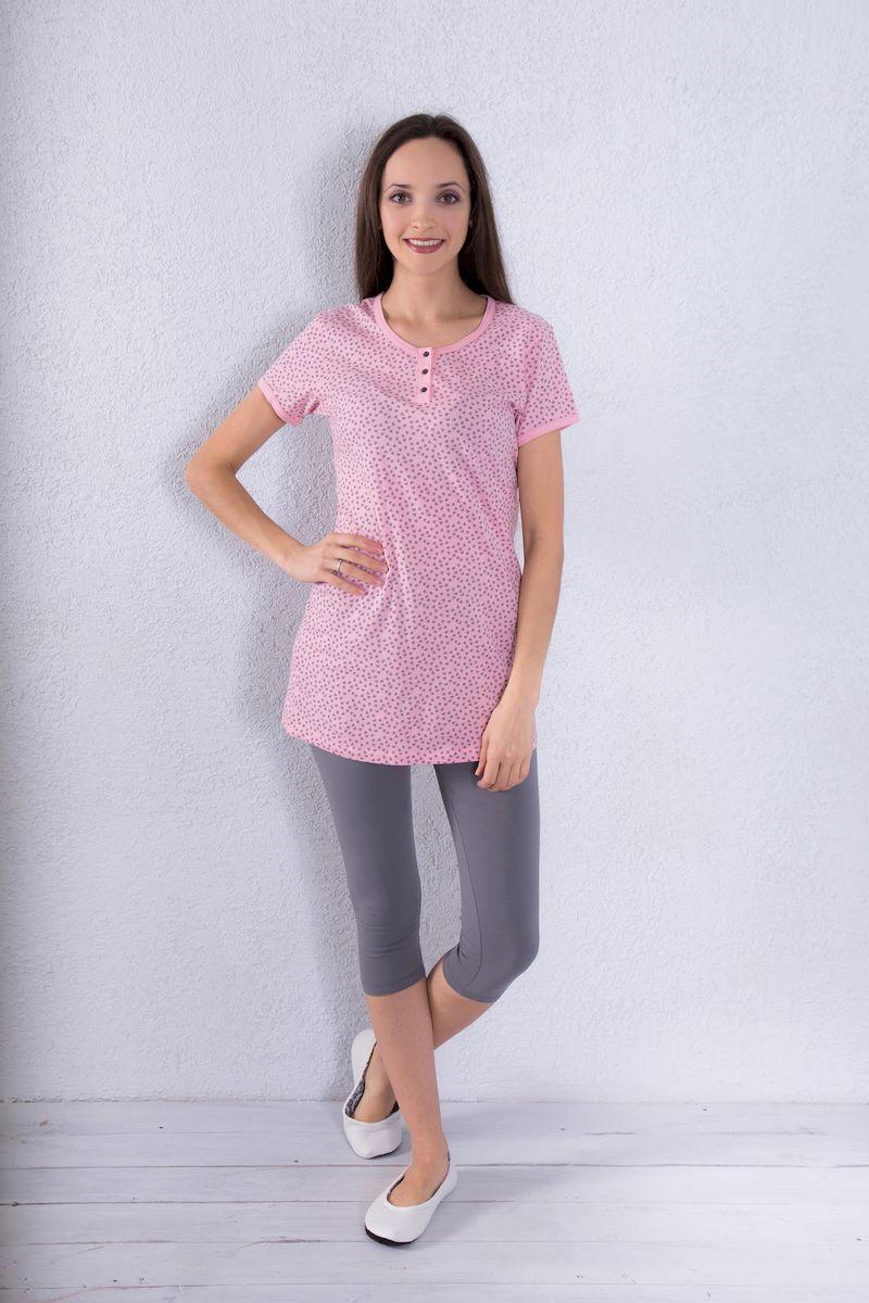 7117140505Женский домашний комплект одежды Violett состоит из туники и капри. Туника с круглым вырезом горловины и короткими рукавами застегивается спереди на три пуговицы. Изделие оформлено принтом с изображением сердечек. Обтягивающие капри имеют эластичный пояс на талии.