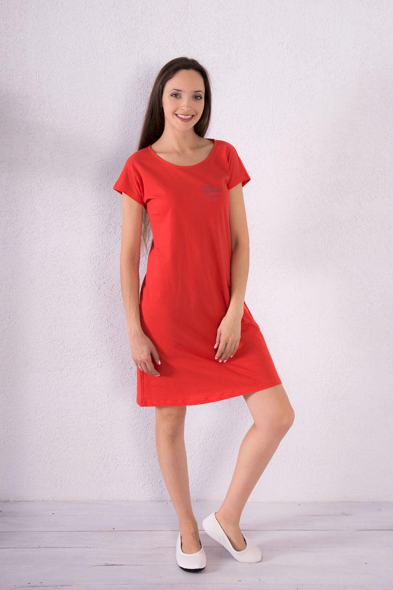 Платье домашнее7117110720Домашнее платье Violett выполнено из натурального хлопка. Платье-миди свободного кроя с круглым вырезом горловины и короткими рукавами оформлено принтовыми надписями.