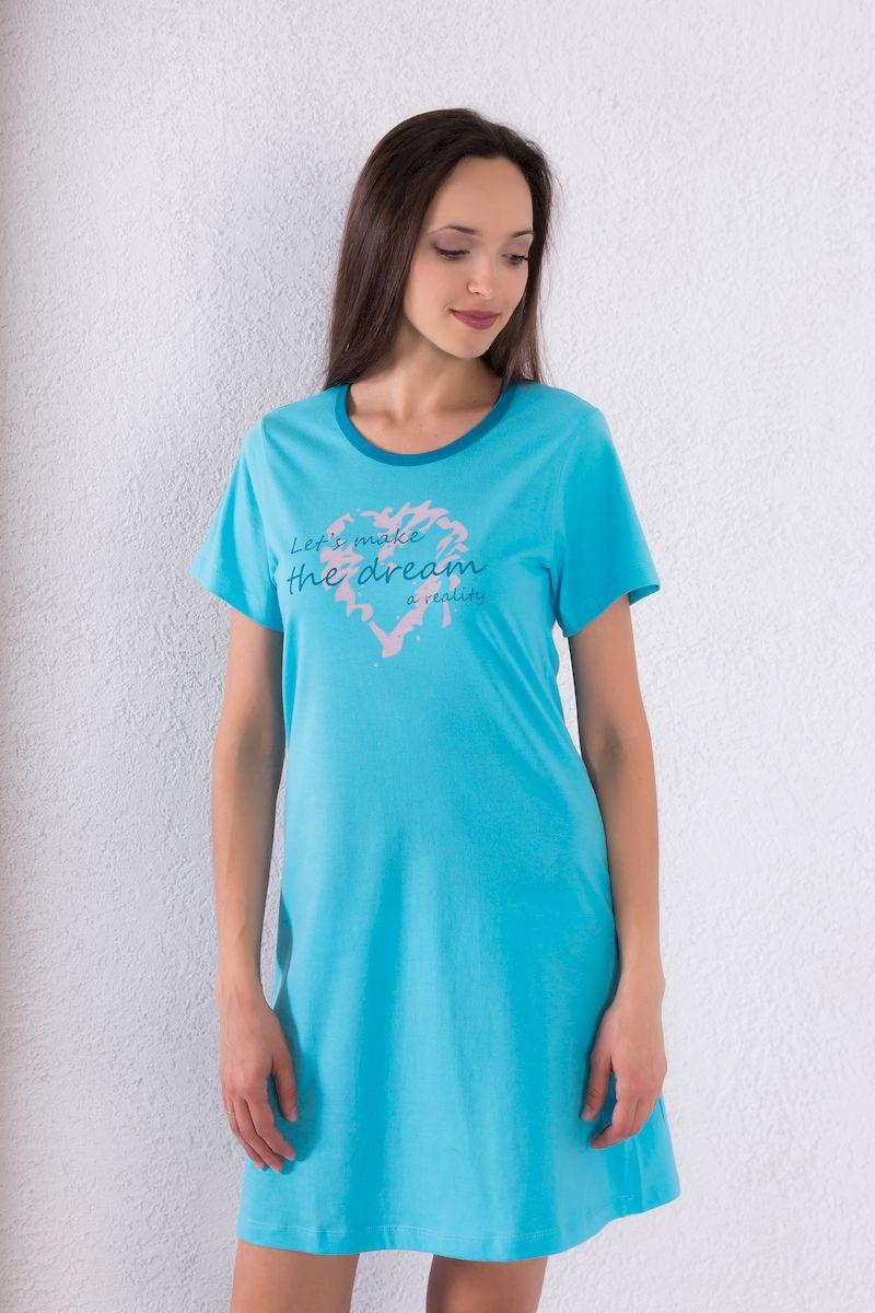 Платье домашнее7117110706Домашнее платье Violett выполнено из натурального хлопка. Платье-миди свободного кроя с круглым вырезом горловины и короткими рукавами оформлено принтовыми надписями.