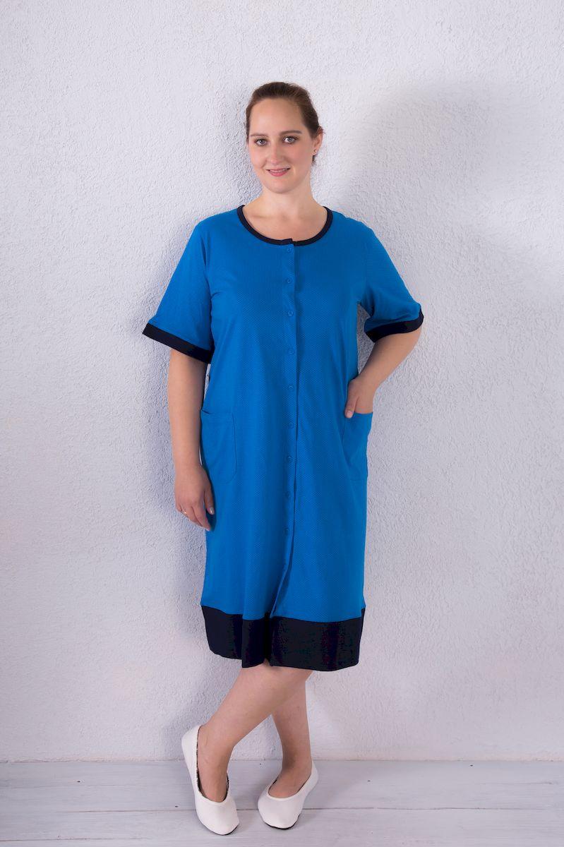 7117110208Женский халат Violett выполнен из натурального хлопка. Халат с круглым вырезом горловины и короткими рукавами застегивается на пуговицы по всей длине. Спереди расположены два накладных кармана.