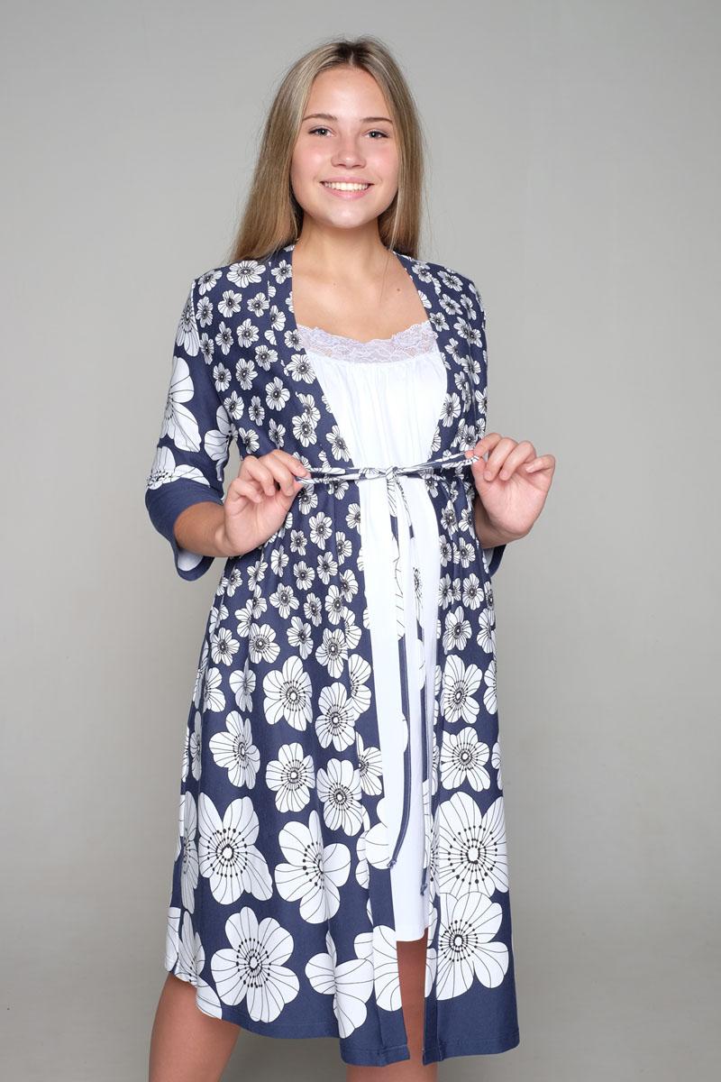 Комплект одежды1-НМК 07944Легкий комплект, состоящий из халата-пеньюара и сорочки на бретелях с клипсой для кормления, выполнен из высококачественного хлопкового материала.