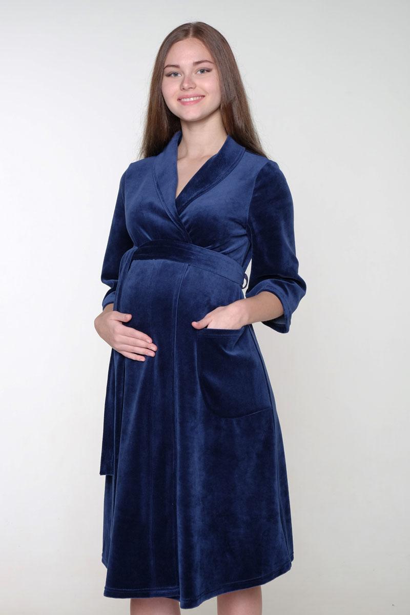 Халат2-НМК 06007Уютный, нежный халат для беременных и кормящих с рукавами длиной 3/4. Для любительниц классики: халат на запах из смесового полотна с оригинальным воротником-шалькой.