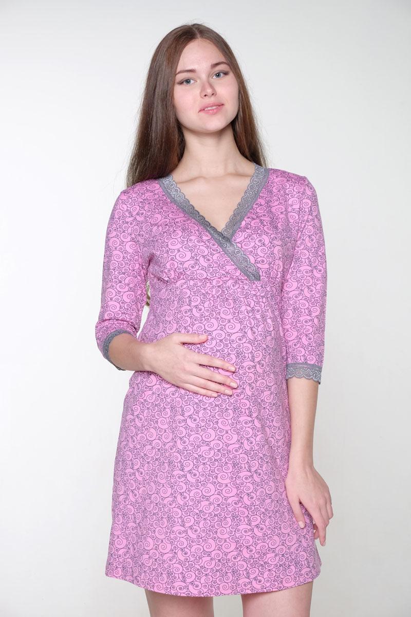 2-НМП 19402Нежная ночная сорочка для беременных и кормящих выполнена из хлопкового трикотажного полотна, полуприлегающий силуэт, рукав 3/4. Удобный крой для кормления.