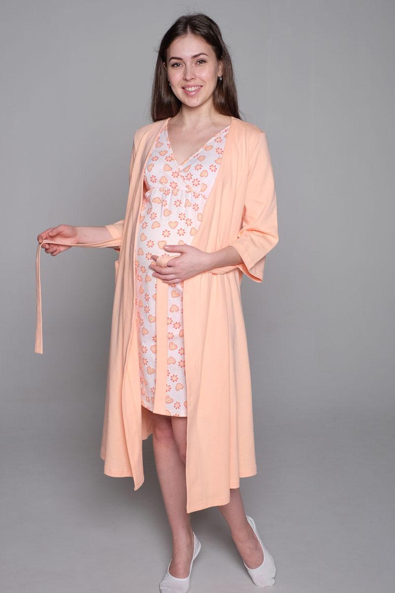 2-НМК 07221Удобный комплект из мягкого трикотажного полотна состоит из халата и ночной сорочки. Сорочка с вырезом на запах для удобства кормления. Халат с рукавом 3/4, с накладным карманом.