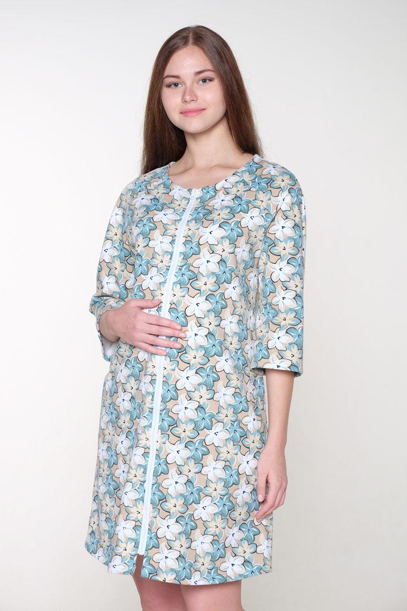 Халат2-НМК 07814Халат женский для беременных и кормящих выполнен из хлопкового трикотажного полотна. Застежка на молнию, круглый ворот, рукав — 3/4.