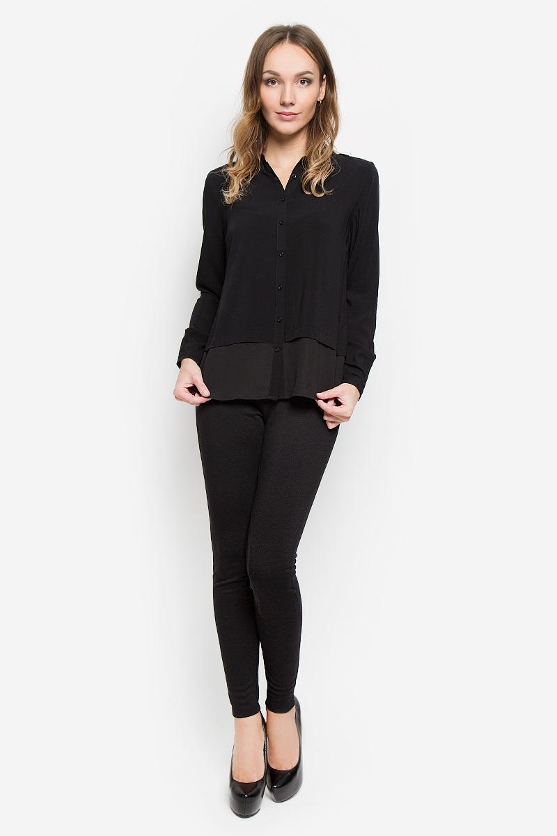 10102_001Очаровательная женская блузка Broadway, выполненная из вискозы, подчеркнет ваш уникальный стиль и поможет создать оригинальный женственный образ. Блузка свободного кроя с отложным воротничком и длинными рукавами застегивается на пуговицы. На манжетах предусмотрены застежки-пуговицы. По низу модель оформлена легкой струящейся тканью. Такая блузка послужит замечательным дополнением к вашему гардеробу.