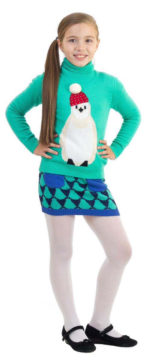 СвитерWK5404-28Свитер для девочки Nota Bene изготовлен из высококачественной комбинированной пряжи из вискозы с добавлением хлопка, шерсти и нейлона. Свитер с длинными рукавами и воротником-гольф оформлен изображением забавного пингвина в шапочке с объемным помпоном. Воротник, манжеты рукавов и низ свитера связаны резинкой.