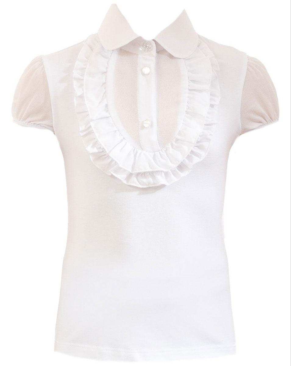 БлузкаCJR26006A-1/CJR26006B-1Стильная блузка для девочки Nota Bene идеально подойдет вашей дочурке. Изготовленная из хлопка с добавлением полиэстера и лайкры, она мягкая и приятная на ощупь, не сковывает движения, эластична, износоустойчива и позволяет коже дышать, обеспечивая наибольший комфорт. Блузка с короткими рукавами-фонариками и отложным воротничком застегивается на пластиковые пуговицы. Модель оформлена рюшами на груди. Современный дизайн и расцветка делают эту блузку стильным предметом детского гардероба.