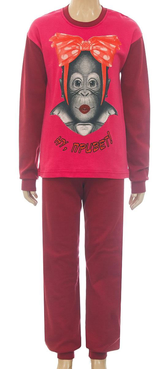 Пижама18041П06-309Уютная пижама для девочки M&D выполнена из натурального хлопка. В комплект входит футболка с длинными рукавами и брюки. Футболка с длинными рукавами и круглым вырезом горловины оформлена спереди милым принтом. Брюки имеют эластичный пояс. Низ рукавов, низ брюк и вырез горловины дополнены трикотажные резинками.
