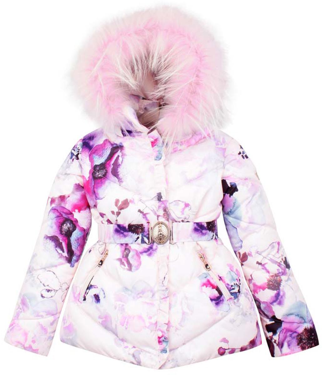 PUFWG-616-20121-904Куртка для девочки Pulka изготовлена из полиэстера, наполнитель - синтепон. Подкладка выполнена из мягкого эластичного хлопка. Куртка с длинными рукавами и воротником-стойкой имеет съемный капюшон на застежке- молнии. Капюшон украшен съемным натуральным мехом енота на застежке-молнии. Модель застегивается на застежку-молнию спереди и имеет ветрозащитный клапан на кнопках. Куртка оснащена двумя втачными карманами на застежках-молниях спереди. Рукава дополнены внутренним эластичными манжетами. Объем низа куртки регулируется при помощи внутреннего шнурка-кулиски со стопперами. В комплект входит съемный эластичный ремень с крупной металлической пряжкой. Модель оформлена ярким цветочным принтом.