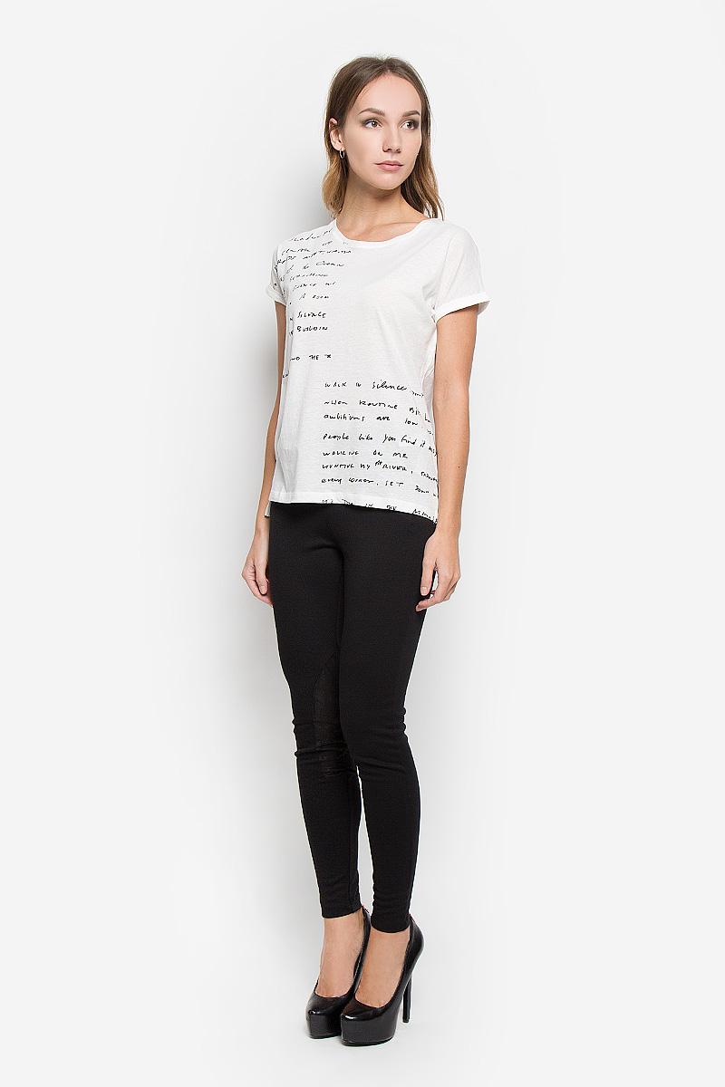 10156651_01AЖенская футболка Broadway Nancie, выполненная из высококачественного хлопка, станет отличным дополнением к вашему гардеробу. Материал изделия очень мягкий, тактильно приятный. Футболка с короткими цельнокроеными рукавами имеет круглый вырез горловины. По бокам изделие дополнено небольшими разрезами. Спинка футболки немного удлинена. Однотонная модель оформлена принтом в виде надписей. Лаконичный дизайн и совершенство стиля подчеркнут вашу индивидуальность.