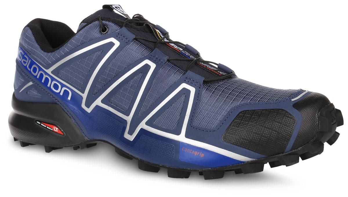 КроссовкиL38313000Беговые мужские кроссовки от Salomon Speedcross 4 выполнены на 64,3% из синтетического материала и на 35,7% из текстиля. Конструкция верха Sensifit с пропиткой Mudguard не пропускает грязь и воду. Подъем оформлен шнуровкой с фиксатором, благодаря которой обувь сидит плотно на ноге, и дополнен кармашком для шнурков. Стелька Ortholite из ЭВА материала с текстильным верхним покрытием создает более прохладное и сухое пространство под стопой. Мягкая верхняя часть и подкладка, изготовленная из текстиля, обеспечивают дополнительный комфорт и предотвращают натирание. Язычок дополнен текстильной нашивкой с символикой бренда. Светоотражающие элементы обеспечат лучшую видимость в темное время суток. Подошва Contagrip не оставляет следов и обеспечивает отличное сцепление со скользкой поверхностью. Такие кроссовки займут достойное место в коллекции вашей спортивной обуви.