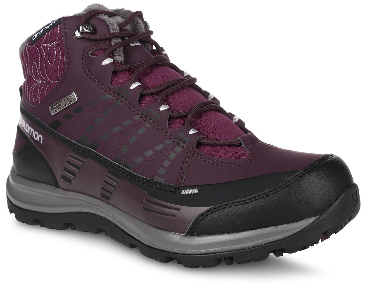 L39059200Утепленные трекинговые женские ботинки Salomon Kaina CS WP 2 сочетают в себе непромокаемую защиту мембраны Climashield, утепление для температур до -18 °C и аккуратный дизайн - все это делает их идеальными для ношения в городе в холодную погоду и для прогулок по горным курортам. Характеристики: Продуманная система шнуровки с крючками в верхней части обеспечивает надежную фиксацию и оптимальный обхват для женской ноги; Особый женский дизайн; Непромокаемая мембрана Climashield; Непромокаемая конструкция со вшитым язычком; Защита от грязи Mud Guard; Вставка из вспененного пластика в пятке; Синтетическая защитная накладка на мыске; Не оставляющая следов подошва Contagrip обеспечивает оптимальное сцепление на разных поверхностях и состоит из идеального сочетания специальных резин; Оформлена модель прострочкой, вышивкой и вставками.