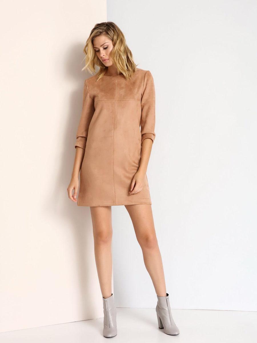 SSU1679BEСтильное платье Top Secret выполнено из полиэстера с добавлением эластана. Модель с круглым вырезом горловины и рукавами 3/4. Платье прямого кроя на спинке застегивается на скрытую застежку-молнию.
