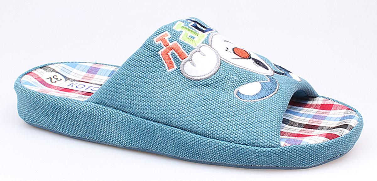 531015-11Домашние тапки Котофей придутся по душе Вашему ребёнку! Модель выполнена из текстиля и оформлена рисунком с изображением весёлых зайчат. Подкладка и стелька из мягкого текстиля не дадут ногам Вашего ребенка замерзнуть. Домашние тапочки Котофей подарят чувство комфорта и уюта!