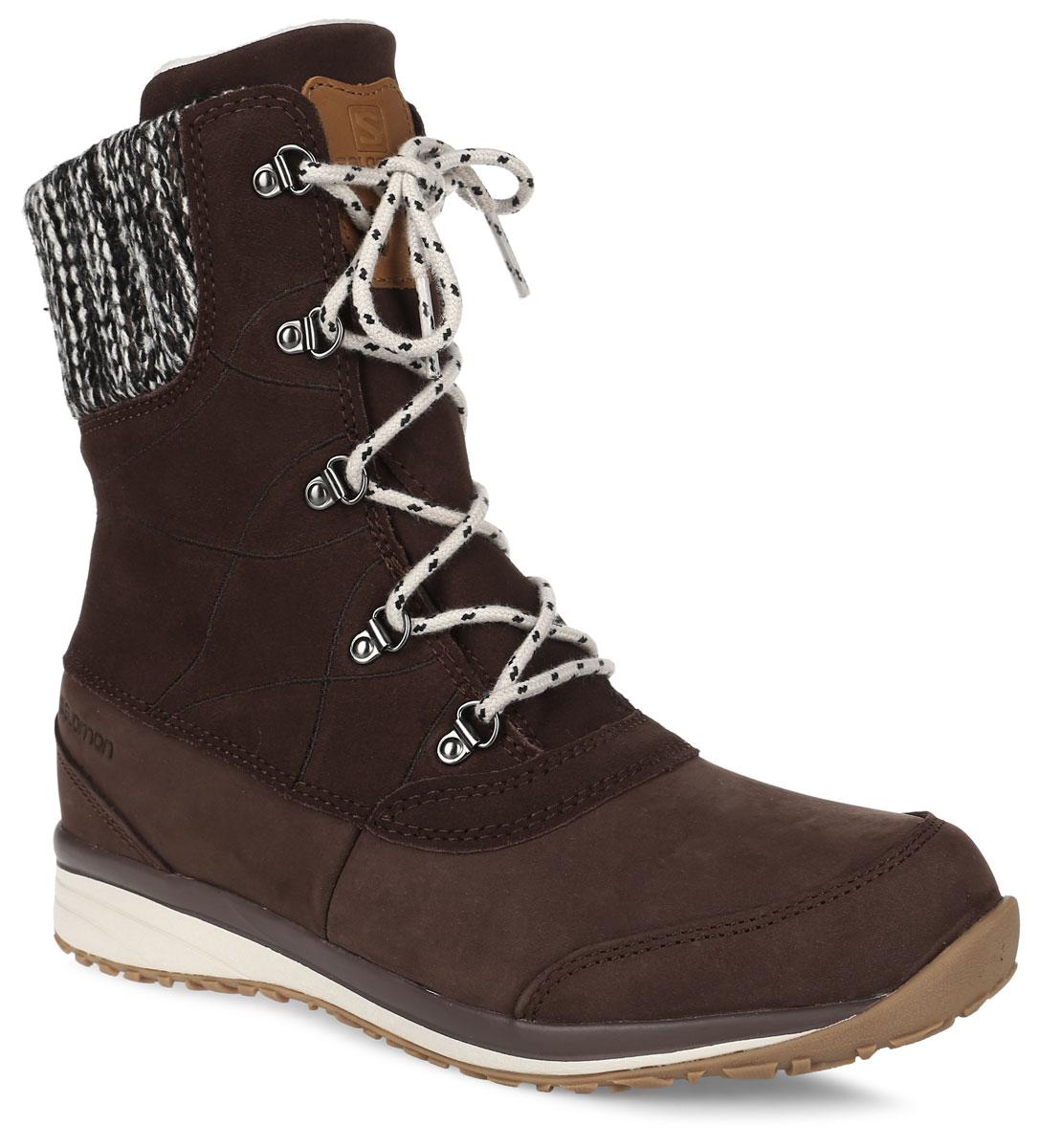 БотинкиL37650100Стильные утепленные ботинки Salomon Hime Mid LTR выполнены из натуральной кожи. Язычок оформлен кожаной нашивкой с тиснением в виде названия и логотипа бренда. Верх модели дополнен шерстяной кромкой. Технология ClimaShield - идеальный баланс защиты от влаги и вентиляции, нужная бегунам защита в сочетании с низким весом, способностью дышать и быстро сохнуть. Классическая шнуровка позволяет оптимально зафиксировать модель на ноге. Эргономичная стелька с прослойкой ЭВА для амортизации и комфорта. Промежуточная подошва EVA обеспечивает дополнительную амортизацию. Не оставляющая следов подошва Winter Contagrip обеспечивает оптимальное сцепление на разных поверхностях и состоит из идеального сочетания специальных резин Ice Grip. В таких ботинках вашим ногам будет комфортно и уютно.
