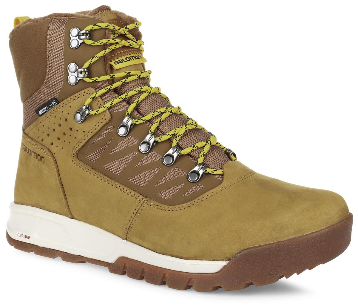 БотинкиL37263200Теплые мужские ботинки Salomon Utility PRO TS сочетают в себе городской стиль и зимнее качество. Верх выполнен из непромокаемой натуральной кожи и текстильного материала. Непромокаемая мембрана Climashield. Защита от грязи Mud guard. Шнуровка надежно и плотно фиксирует модель на ноге. Вшитый язычок защитит от попадания грязи и снега. Подкладка выполнена из влагозащитной мембраны, в верхней части ботинок и язычка - искусственный мех. Утеплитель Thinsulate Ultra сохранит ваши ноги в тепле. Стелька выполнена из пластика EVA, благодаря чему создается амортизация шага. Не оставляющая следов подошва Winter Contagrip с агрессивным протектором и резиновыми шипами обеспечивает оптимальное сцепление на разных поверхностях и состоит из идеального сочетания специальных резин Ice Grip. В таких ботинках вашим ногам будет комфортно и уютно.