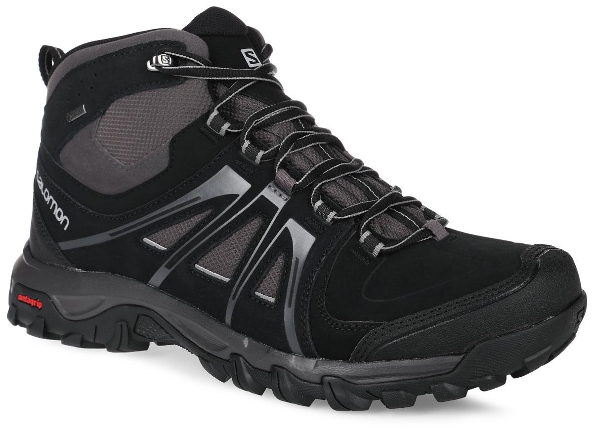 L37690800Стильные трекинговые ботинки Evasion Mid GTX от Salomon прекрасно подойдут для активного отдыха и пеших прогулок. Верх модели выполнен из натуральной кожи со вставками искусственной кожи и водонепроницаемого текстиля. Обувь оформлена тиснением в виде названия бренда, на пятке и на язычке - логотипом Salomon. Классическая шнуровка позволяет оптимально зафиксировать модель на ноге. Задник дополнен текстильной петлей для легкого обувания. Применение технологии Gore-Tex позволяет предотвратить рост температуры и влажности внутри обуви при жаре и высокой активности, в то же время исключив проникновение влаги снаружи. Защитная накладка на мыске надолго сохранит опрятный вид и позволит продлить срок службы модели. Эргономичная стелька Ortholite с прослойкой ЭВА для амортизации и комфорта. Промежуточная подошва EVA обеспечивает дополнительную амортизацию. Резиновая подошва Contagrip со специальным рисунком протектора разработана для ходьбы по пересеченной местности и...