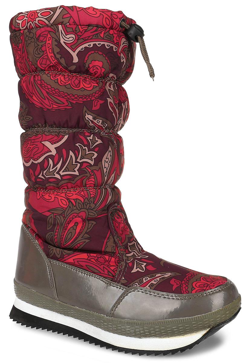 B444505Практичные и удобные женские дутики от Baon - отличный вариант на каждый день. Модель выполнена из комбинации искусственной кожи с гладкой лаковой поверхностью и плащевки, оформленной ярким изображением. По ранту обувь дополнена прорезиненной вставкой. Верх изделия оформлен шнурком с фиксатором, который надежно фиксирует модель на ноге и регулирует объем. Фурнитура выполнена из пластика. Съемная стелька, изготовленная из шерпа-флиса, согреет ноги в мороз и обеспечит уют. Подкладка выполнена из полиэстера, утеплитель из пуха и пера. Подошва изделия препятствует скольжению, а ее особая форма обеспечивает удобство при ходьбе. Удобные дутики придутся вам по душе.