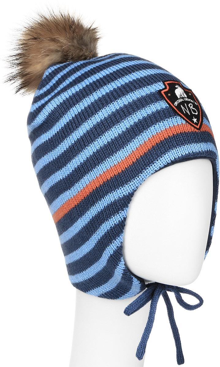 Шапка детскаяAW15020-30Вязаная шапка для мальчика Nota Bene выполнена из акрила с добавлением шерсти, подкладка изготовлена из натурального хлопка. Шапка дополнена небольшим ушками с завязками. Модель декорирована пушистым помпоном на макушке и украшена нашивкой с логотипом. Уважаемые клиенты! Обращаем ваше внимание на тот факт, что размер, доступный для заказа, является обхватом головы.