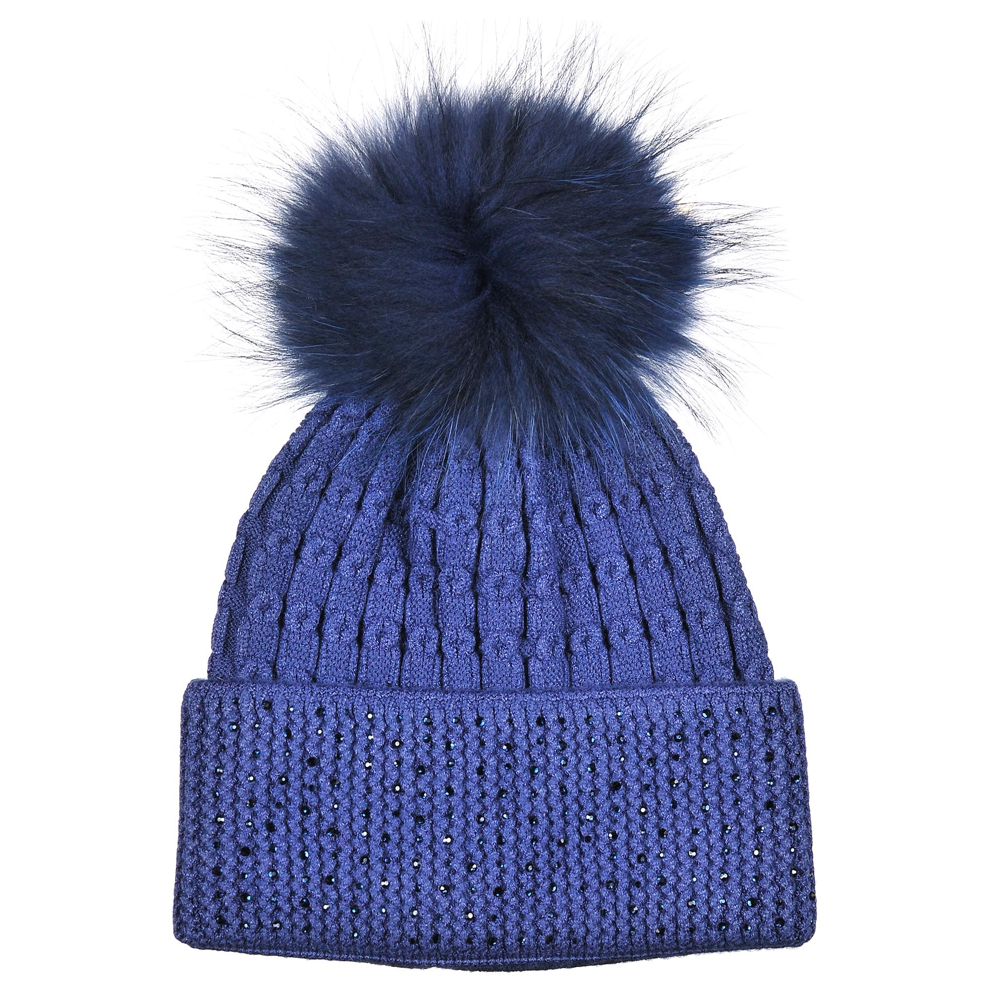 4-0050-001Модная теплая однослойная шапка из шерсти с помпоном из натурального меха. Отворот декорирован стразами. Отличный аксессуар защитит в непогоду и подарит ощущение теплоты.
