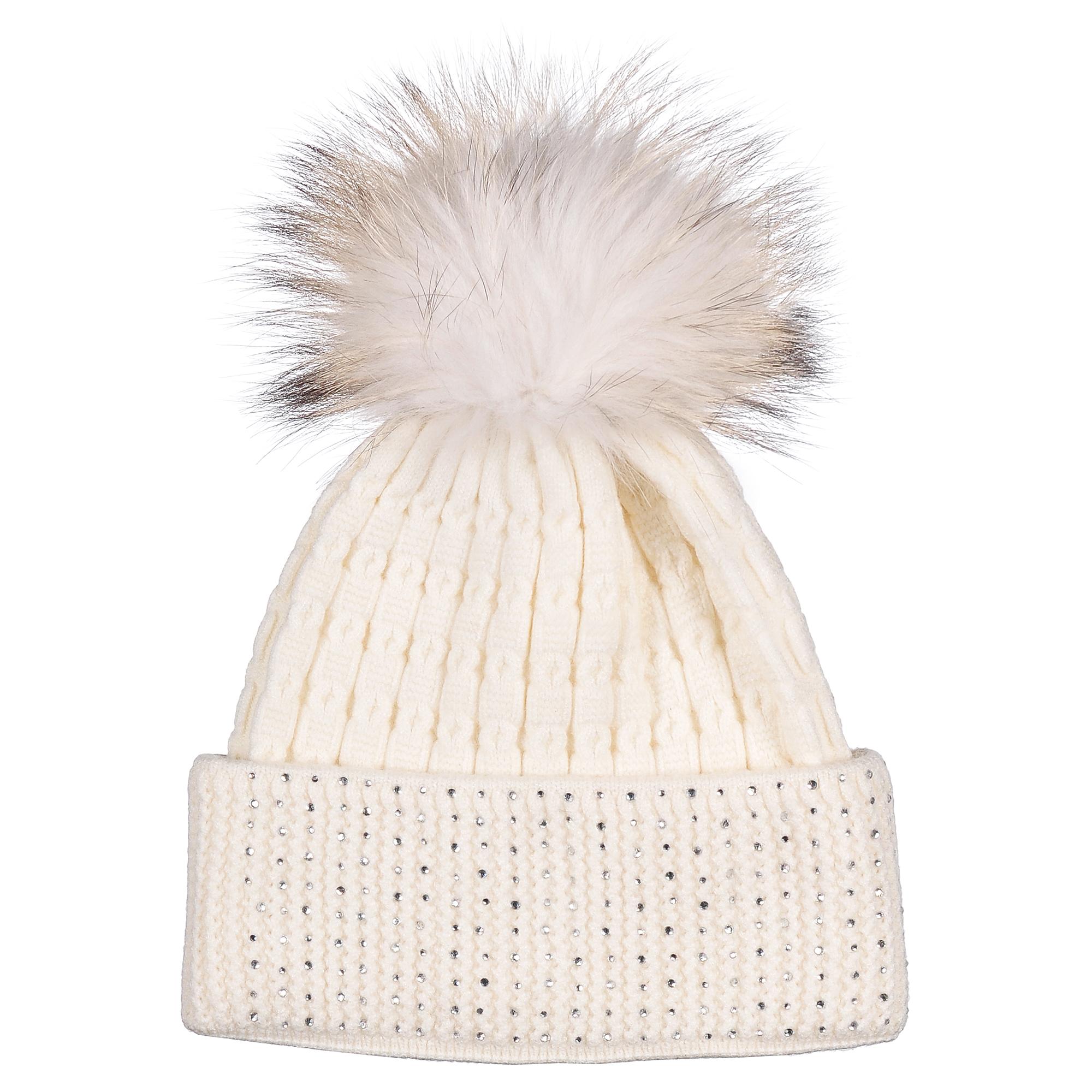 Шапка4-0050-001Модная теплая однослойная шапка из шерсти с помпоном из натурального меха. Отворот декорирован стразами. Отличный аксессуар защитит в непогоду и подарит ощущение теплоты.