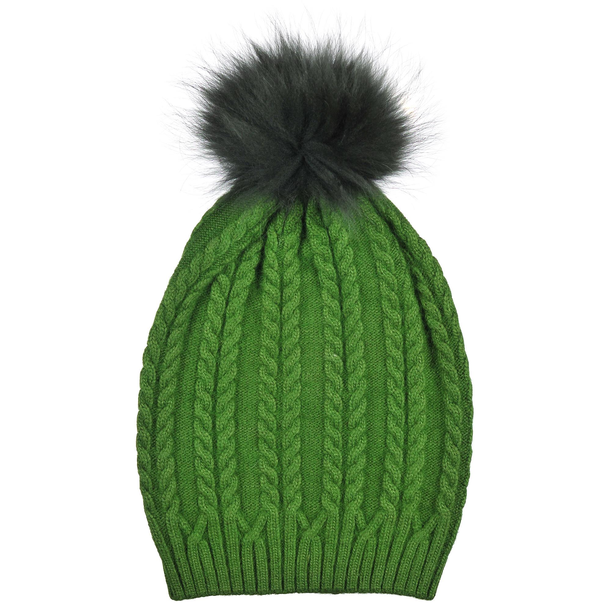 4-0048-001Трендовая шапка - чулок из натурального кролика с помпоном из натурального меха, на резинке. Рисунок - коса. Отличный аксессуар защитит в непогоду и подарит ощущение теплоты.
