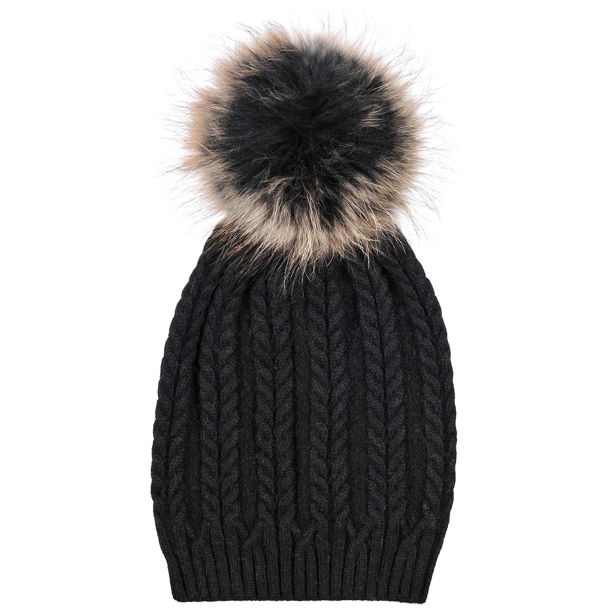 Шапка4-0048-001Трендовая шапка - чулок из натурального кролика с помпоном из натурального меха, на резинке. Рисунок - коса. Отличный аксессуар защитит в непогоду и подарит ощущение теплоты.