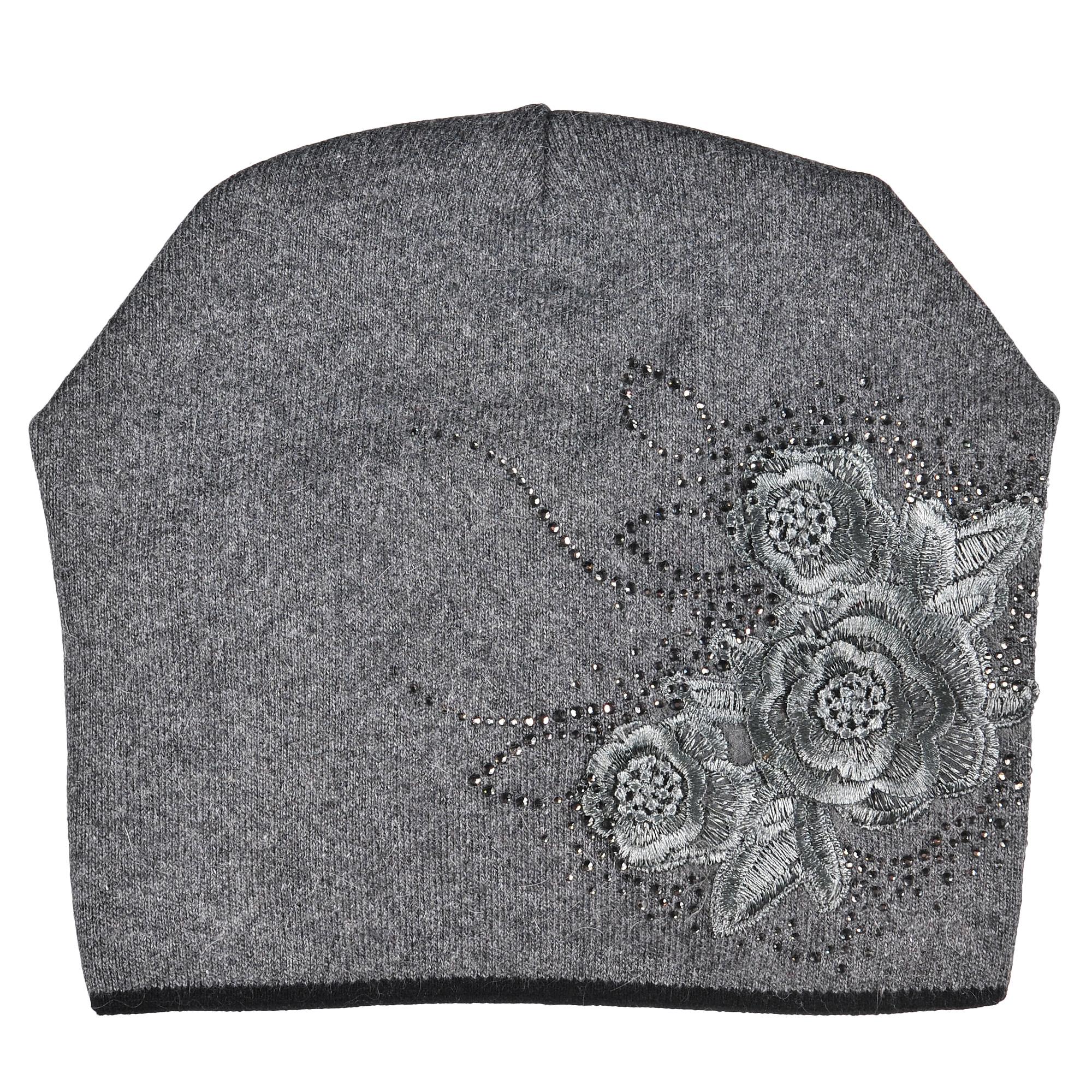 4-0047-030Модная теплая двухслойная шапка из шерсти с вышитыми цветами и стразами. Задняя часть декорирована сборкой. Отличный аксессуар защитит в непогоду и подарит ощущение теплоты.