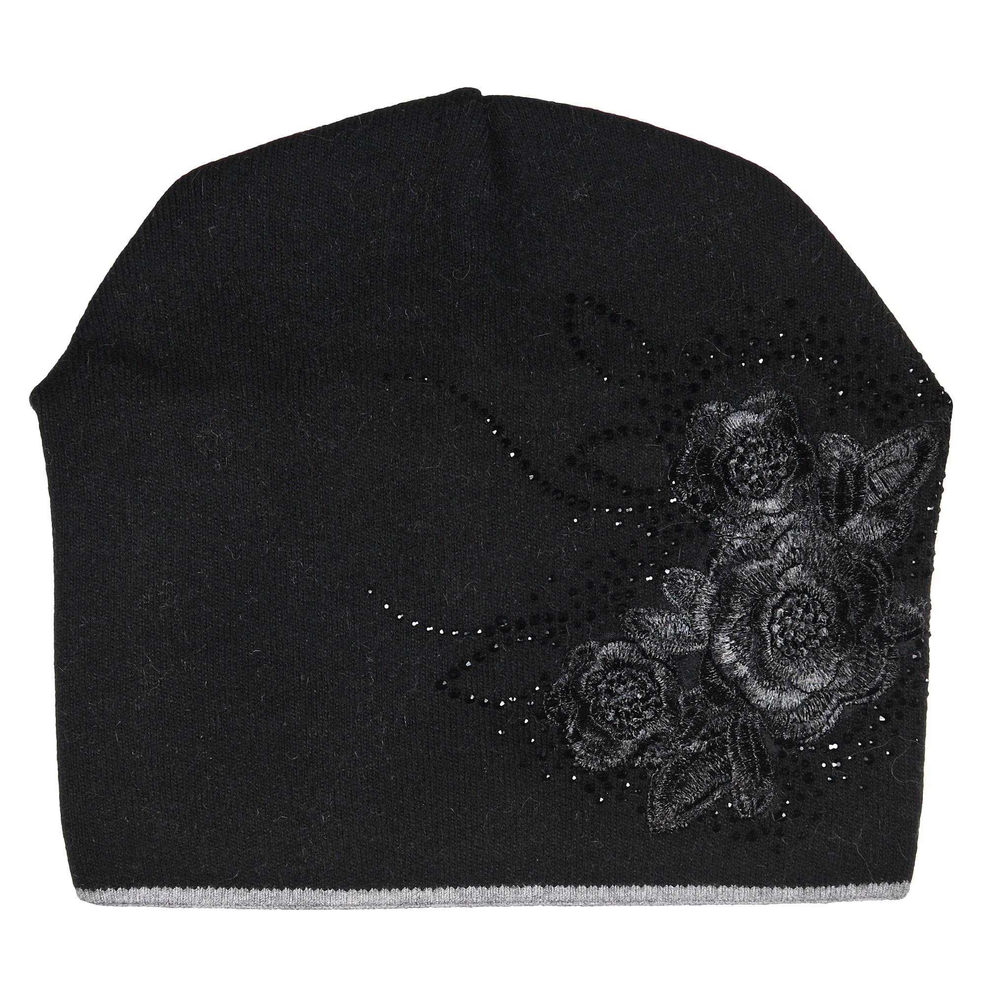 Шапка4-0047-030Модная теплая двухслойная шапка из шерсти с вышитыми цветами и стразами. Задняя часть декорирована сборкой. Отличный аксессуар защитит в непогоду и подарит ощущение теплоты.