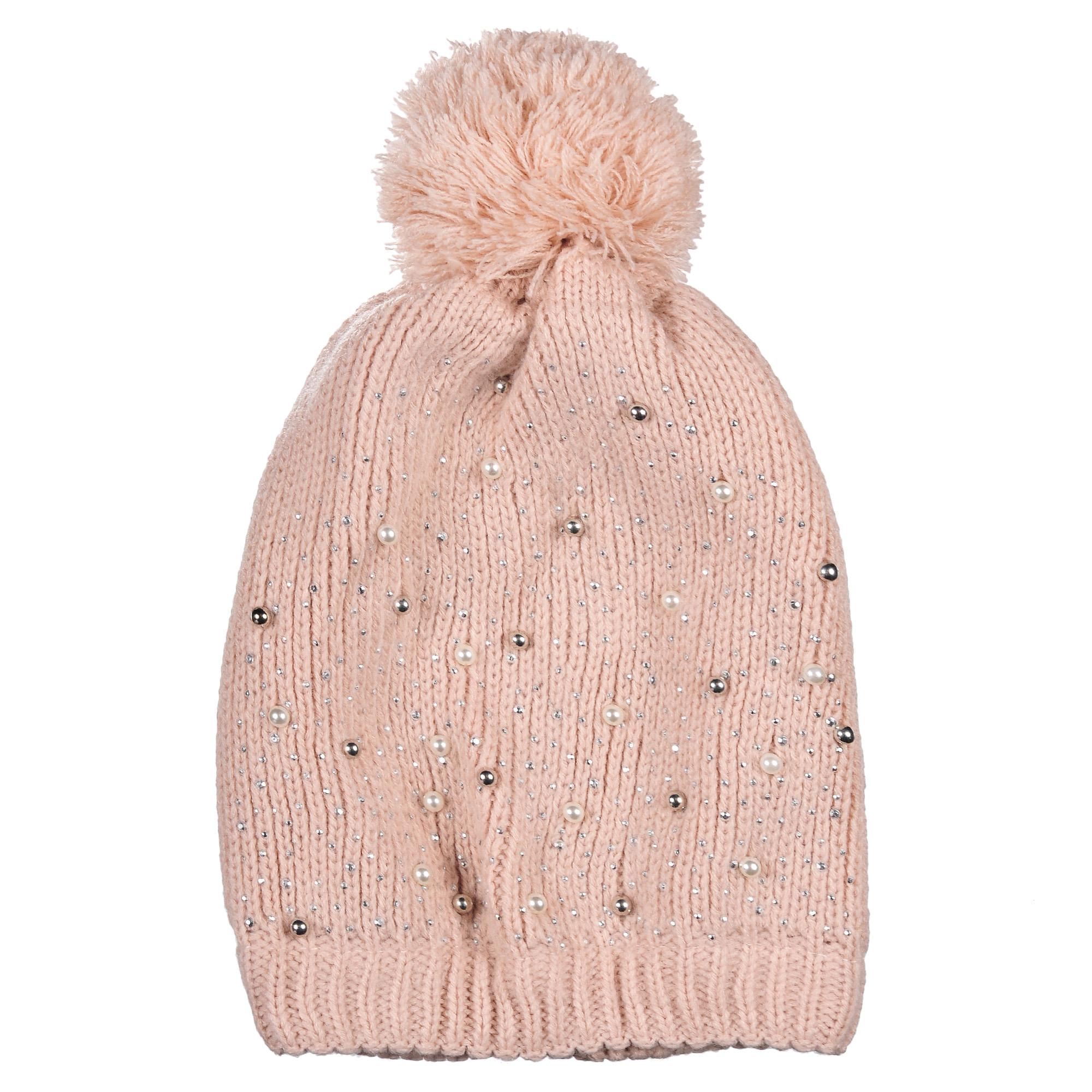 Шапка4-0045-001Стильная однослойная теплая шапка с помпоном из акрила, на резинке. Декорирована бусинами и стразами. Отличный аксессуар защитит в непогоду и подарит ощущение теплоты.